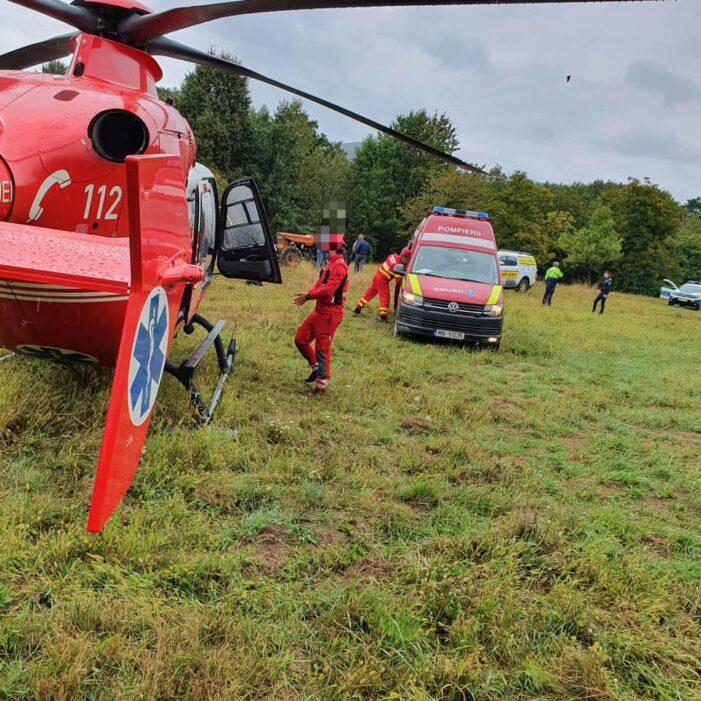 Un tractor s-a rasturnat in Tarsolt ! S-a solicitat elicopterul ! (Foto)