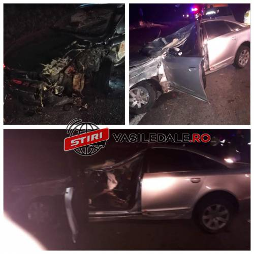 Accident cu doi raniti. Doua masini s-au lovit frontal (Foto)